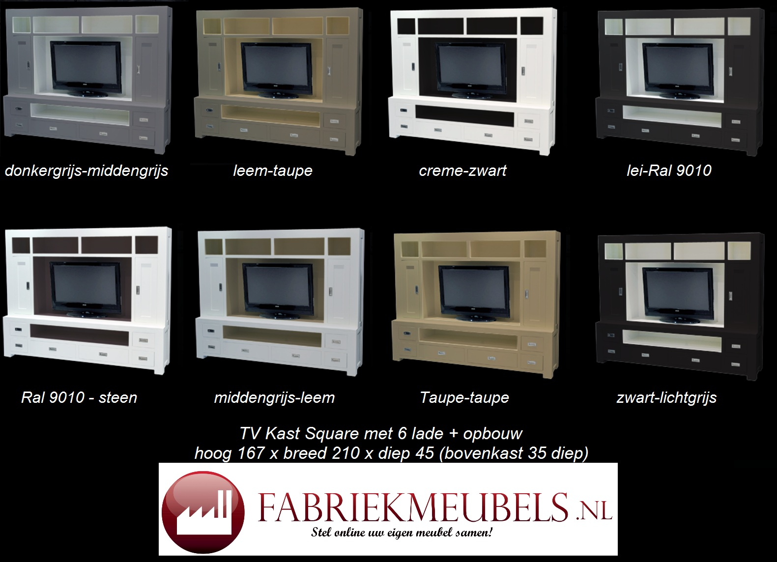 Tv Meubel Creme Wit.Tv Meubel Square Fabriekmeubels Nl