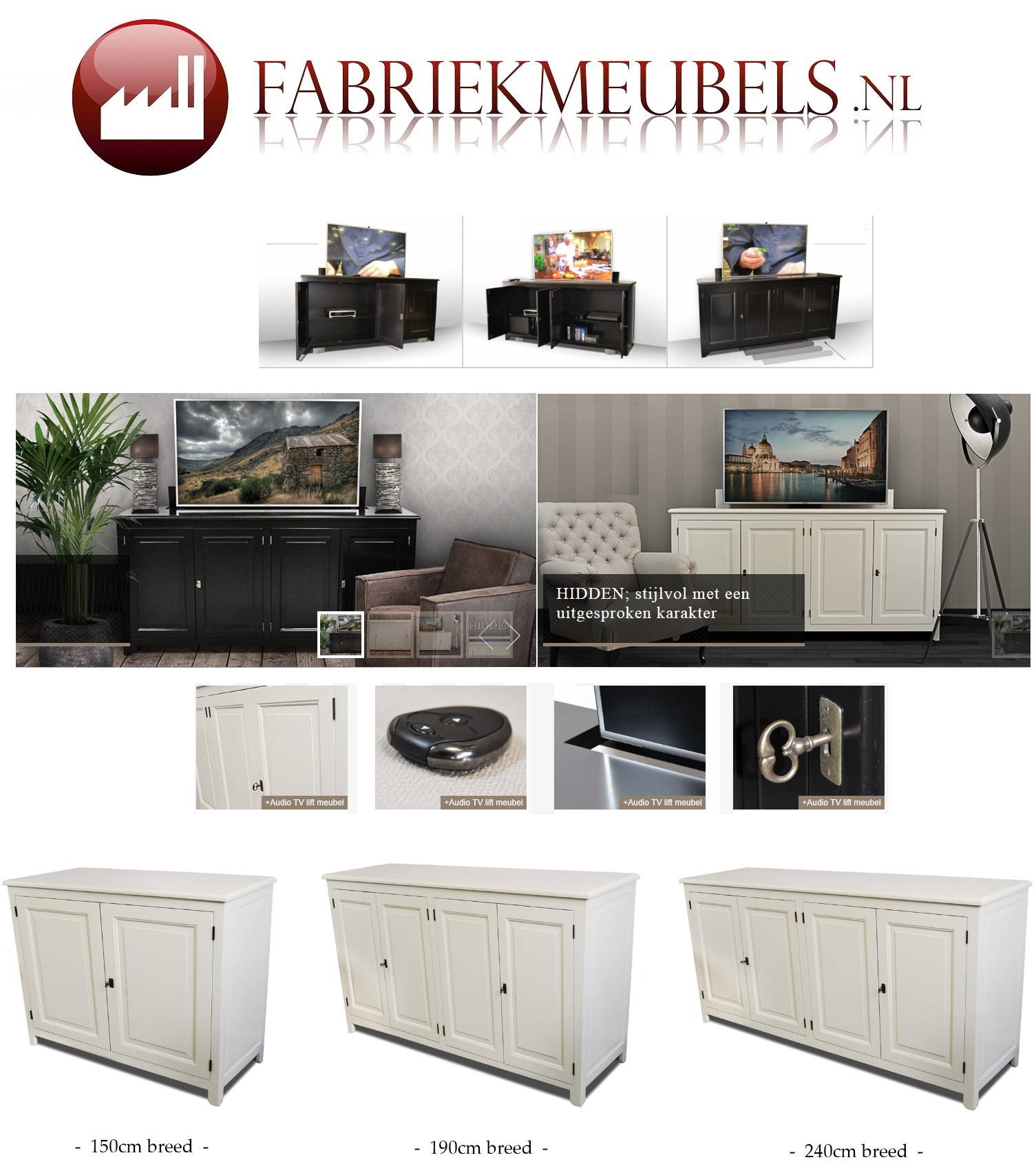 Tv Meubel En Vitrinekast.Tv Meubel Met Lift Hidden Fabriekmeubels Nl